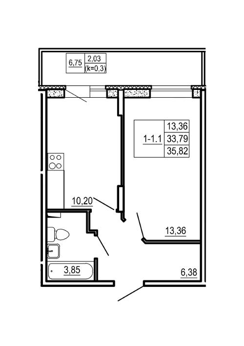 Планировка Однокомнатная квартира площадью 35.82 кв.м в ЖК «Щеглово Парк (комфорт-класс)»