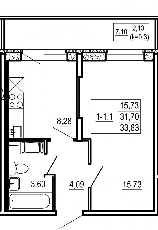 Планировка Однокомнатная квартира площадью 33.83 кв.м в ЖК «Щеглово Парк (комфорт-класс)»