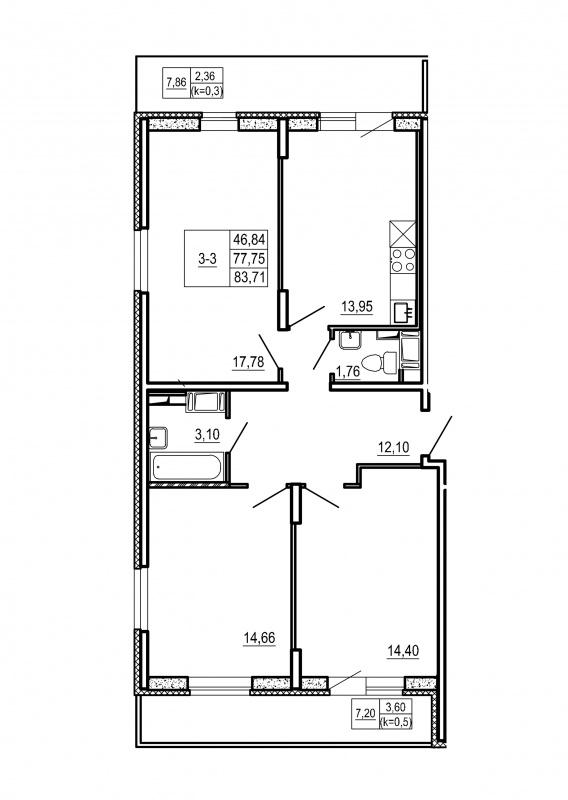 Планировка Трёхкомнатная квартира площадью 83.71 кв.м в ЖК «Щеглово Парк (комфорт-класс)»