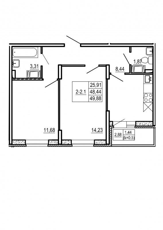 Планировка Двухкомнатная квартира площадью 49.88 кв.м в ЖК «Щеглово Парк (комфорт-класс)»