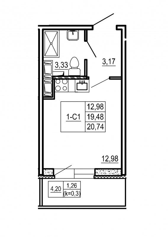 Планировка Студия площадью 20.74 кв.м в ЖК «Щеглово Парк (комфорт-класс)»