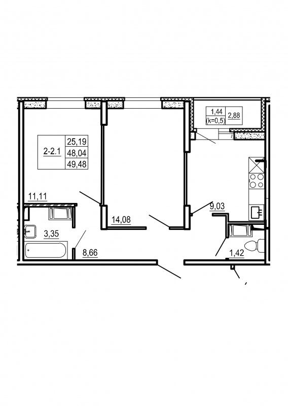 Планировка Двухкомнатная квартира площадью 49.48 кв.м в ЖК «Щеглово Парк (комфорт-класс)»