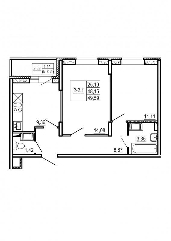Планировка Двухкомнатная квартира площадью 49.59 кв.м в ЖК «Щеглово Парк (комфорт-класс)»