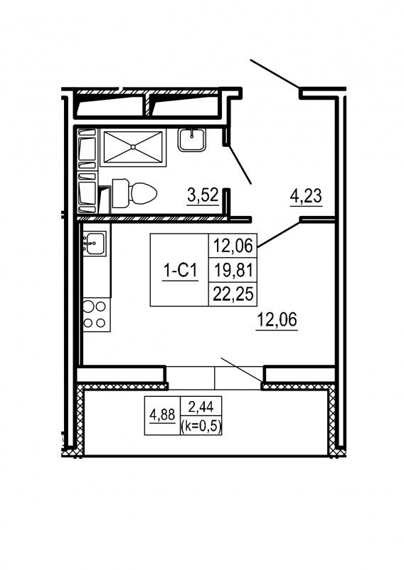 Планировка Студия площадью 22.25 кв.м в ЖК «Щеглово Парк (комфорт-класс)»