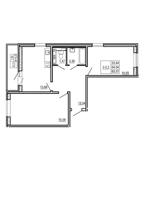 Планировка Двухкомнатная квартира площадью 65.57 кв.м в ЖК «Щеглово Парк (комфорт-класс)»