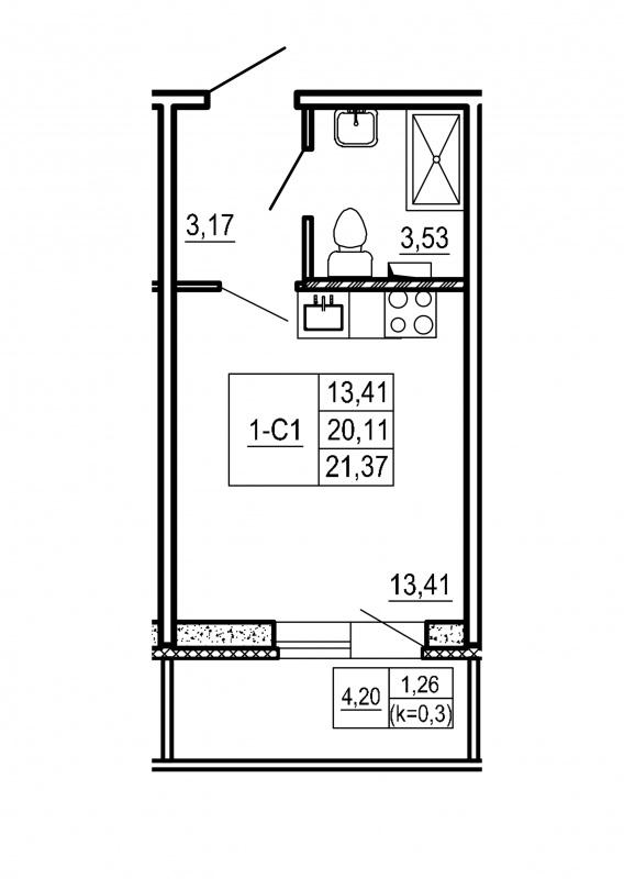 Планировка Студия площадью 21.37 кв.м в ЖК «Щеглово Парк (комфорт-класс)»