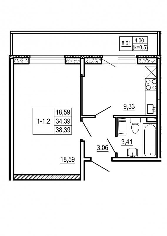 Планировка Однокомнатная квартира площадью 38.39 кв.м в ЖК «Щеглово Парк (комфорт-класс)»