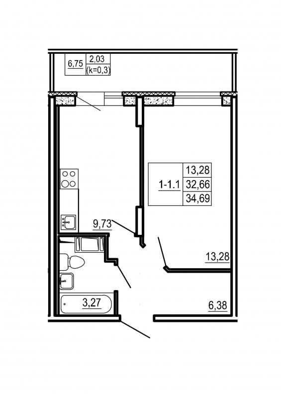 Планировка Однокомнатная квартира площадью 34.69 кв.м в ЖК «Щеглово Парк (комфорт-класс)»