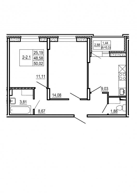 Планировка Двухкомнатная квартира площадью 50.02 кв.м в ЖК «Щеглово Парк (комфорт-класс)»