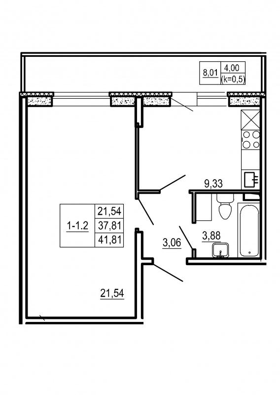 Планировка Однокомнатная квартира площадью 41.81 кв.м в ЖК «Щеглово Парк (комфорт-класс)»